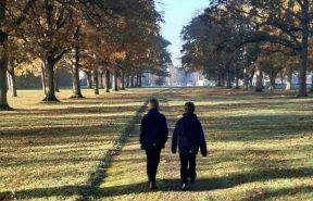 OBH pupils walking down the tree lined grounds in Suffolk