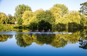 A girls' four on Pangbourne's beautiful stretch of the River Thames