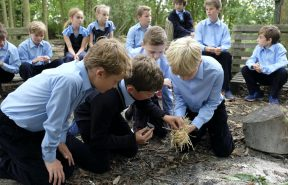 OBH children at their OBE lesson, learning bushcraft and making fire with basic tools