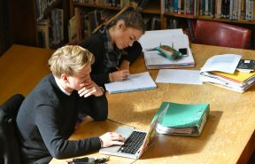 Bishop's Stortford College Sixth Formers studying in the Senior School Library