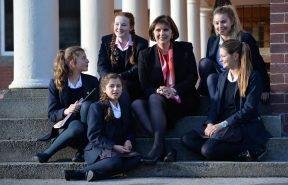 HLC Principal Mrs Brett and pupils