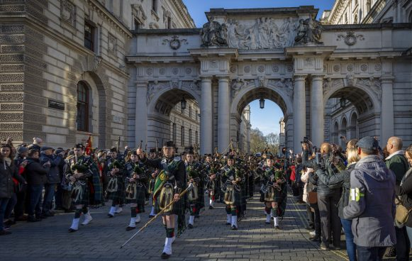 Student members of the Pipes and Drums at Gordon's lead the student body in a Parade along Whitehall to commemorate General Charles Gordon, in whose memory the school is founded. Gordon's is the only school in the country permitted to march along this central London venue, which the school does annually to the statue of General Gordon on the Victoria Embankment.